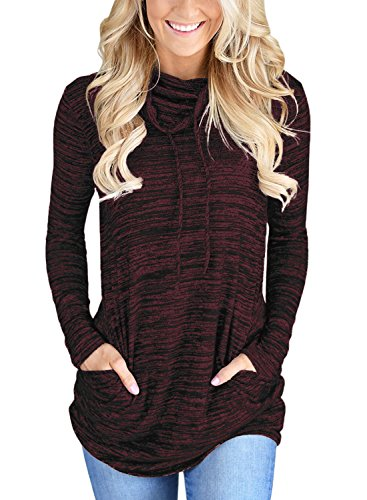 Bdcoco Women's Cowl Neck Long Sleeve Casual Tunic Sweatshirt Tops with Pockets