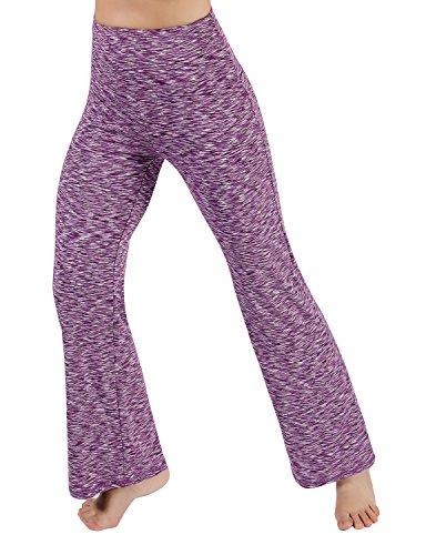 ODODOS Power Flex High Waist Boot Cut Yoga Pants Tummy Control Workout Running 4 way Stretch Boot Leg Yoga Pants With Hidden Pocket,SpaceDyePurple,Large