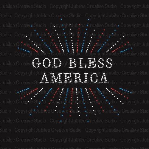God Bless America Iron On Rhinestone Crystal T-Shirt Transfer by JCS Rhinestones ()