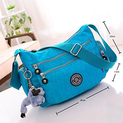 niceEshop(TM) Nylon Impermeable Multi-bolsillo de la Bolsa de Mensajero para las Mujeres (Rosa Oscuro) Azul Claro