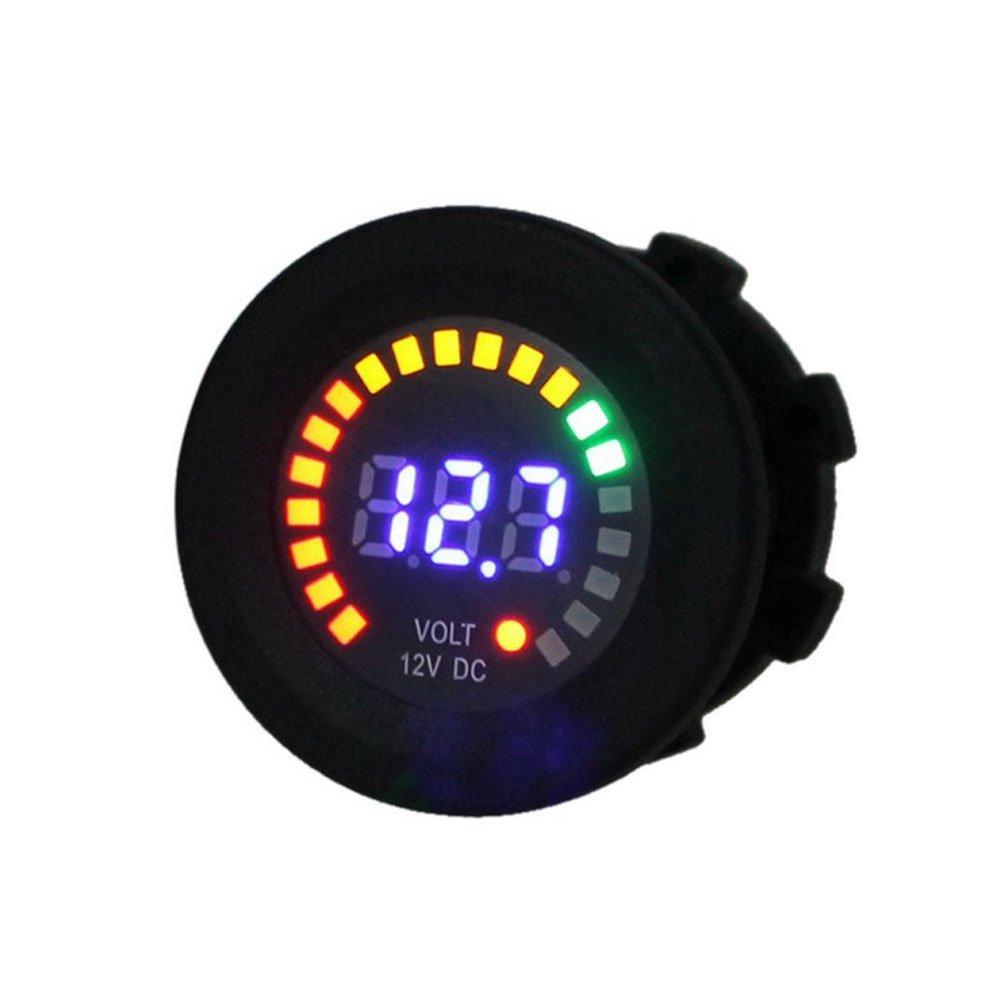 Etopars Car Motorcycle Digital LED Voltage Gauge Meter Volt LED Voltmeter Display DC 12V 24V