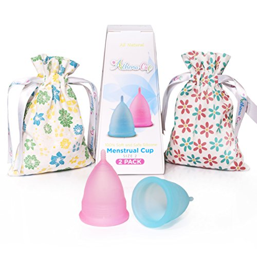 Athena Period Cup - 2 Large Menstrual Cups set - Outperforms Diva Cup and Tampons - Take Charge of Your Cycle (Transparent Blue/Pink - Size 2)