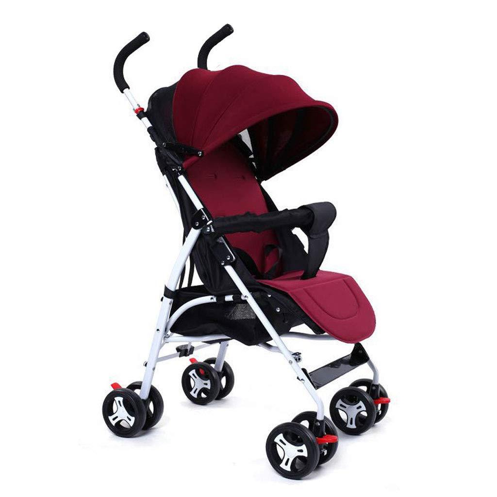 折りたたみ自転車ベビーカー防水日焼け止め軽量ポータブル4ホイール、ストレージバスケット、03歳に適した赤ちゃんは座ったり、嘘をついたりすることができます (色 : Red)  Red B07KWVB7H7