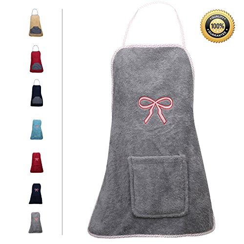 - Abstract Terry Cloth Apron with Convenient Pocket Durable Stripe Kitchen and Cooking Apron for Women/Men Professional Stripe Chef Apron for Cooking, (Gray - Bow Embroidery, Terrycloth)