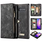 Galaxy S10 Plus Wallet Case,AKHVRS Handmade Premium Cowhide Leather Wallet Case,Zipper Wallet Case [Magnetic Closure] Detachable Magnetic Case & Card Slots for Samsung Galaxy S10 Plus - Black