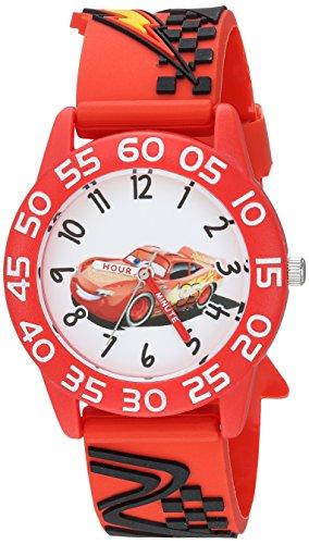 Disney Boy's 'Cars' Quartz Plastic Casual Watch, Color:Red (Model: WDS000443)