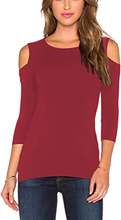 Women Open Cold Shoulder Slim Fit Short Sleeve Tee Shirt Casual Blouse Tops
