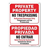 Private Property No Trespassing Sign, Large 10 X 14