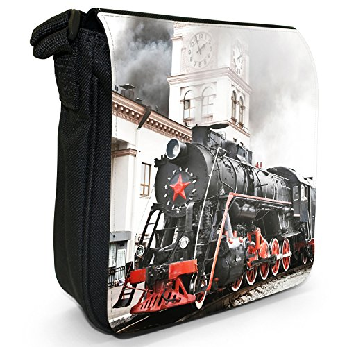 Bag Black Trains Steam Canvas Small Station Size Train Old Shoulder At AX4awPxaRq