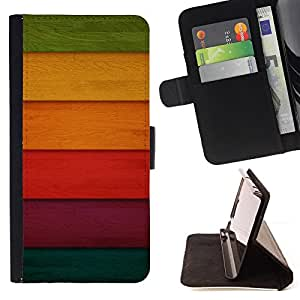 BullDog Case - FOR/Samsung Galaxy Note 3 III / - / Colorful Colored Wood /- Monedero de cuero de la PU Llevar cubierta de la caja con el ID Credit Card Slots Flip funda de cuer