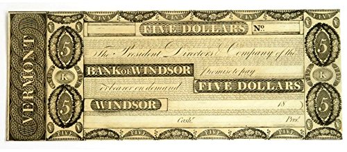 1803 GEM CRISP AU-CU BANK OF WINDSOR VERMONT $5 BILL! One of EARLIEST WILDCAT NOTES!! 215 YEARS OLD!! $5 AU-CU