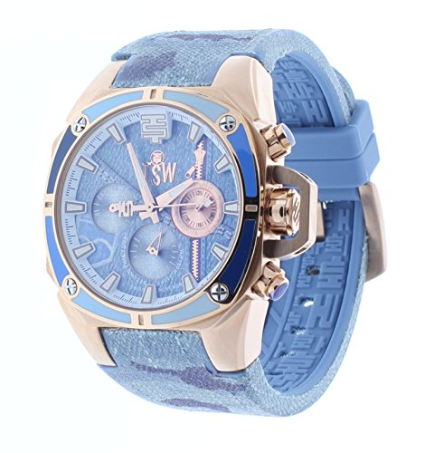 Technosport 38mm Blue Camo Jean Rubber Strap Swiss Multifunction Women's Watch TS-100-J5
