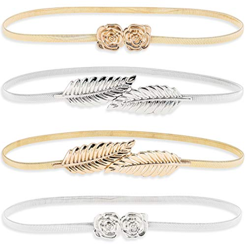 Juvale 4 Pack Women's Elastic Skinny Stretch Fashion Belts - Leaf & Rose Designs, Silver & Gold, 27 x 0.35 Inches
