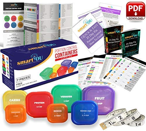 21 Day Portion Control Containers Kit - Nutrition Diet, Multi-Color Coded Weight Loss System. Complete Guide + PDF Planner + Recipe eBook and Tape