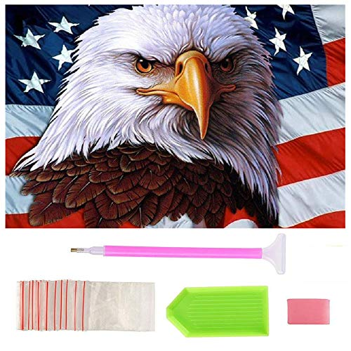 Full Drill Diamond Painting by Number Kits,BeAhity Eagles American Flag 5D Embroidery Cross Stitch Arts Craft for Independence Day Home Wall Decor ()