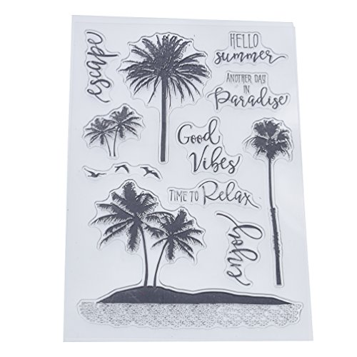 (Towashine Clear Stamps Coconut Palm Tree Rubber for Card Making Scrapbooking Supplies Crafts Photo Albums 4 x 6)