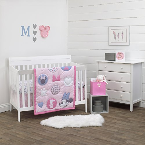 Rose Nursery - Disney Minnie Mouse Pretty In Pink 3 Piece Nursery Crib Bedding Set, Pink, Grey, Rose