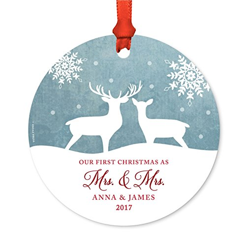 Christmas Deer Ornament (Andaz Press Personalized Wedding Metal Christmas Ornament, Our First Christmas As Mr. and Mrs. 2018, Rustic Wood Snow Deer, 1-Pack, Anna & James, Includes Ribbon and Gift Bag, Custom Name)