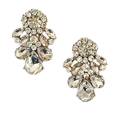 Discount Gold Tone Art Deco Antique Vintage Style Rhinestone Crystal Wedding Bridal Prom Earrings
