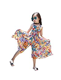 Moonker Kids Girls Summer Straps Jumpsuits Piece Pants Clothing 3-14 Years Old Child Bohemia Butterfly Ruched Jumpsuit