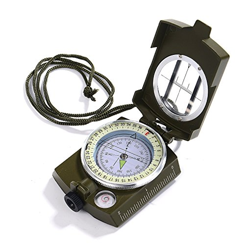 GWHOLE Military Lensatic Sighting Compass Waterproof for Outdoor Activities ()