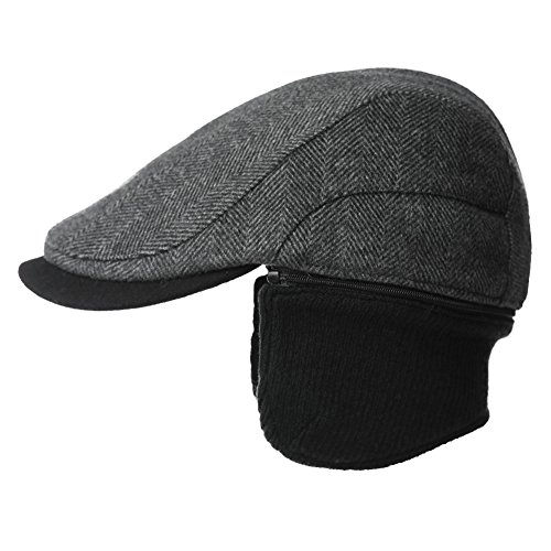 Siggi Wool Tweed Flat Cap Ivy Hat with Ear Flaps Warmer Winter Earflap  Hunting T 33a3f0db29e