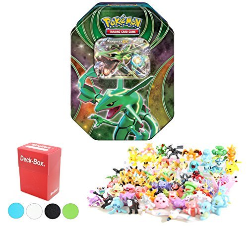 Pokemon Tin Featuring Rayquaza EX with 6 Pokemon Figures and Deck Box