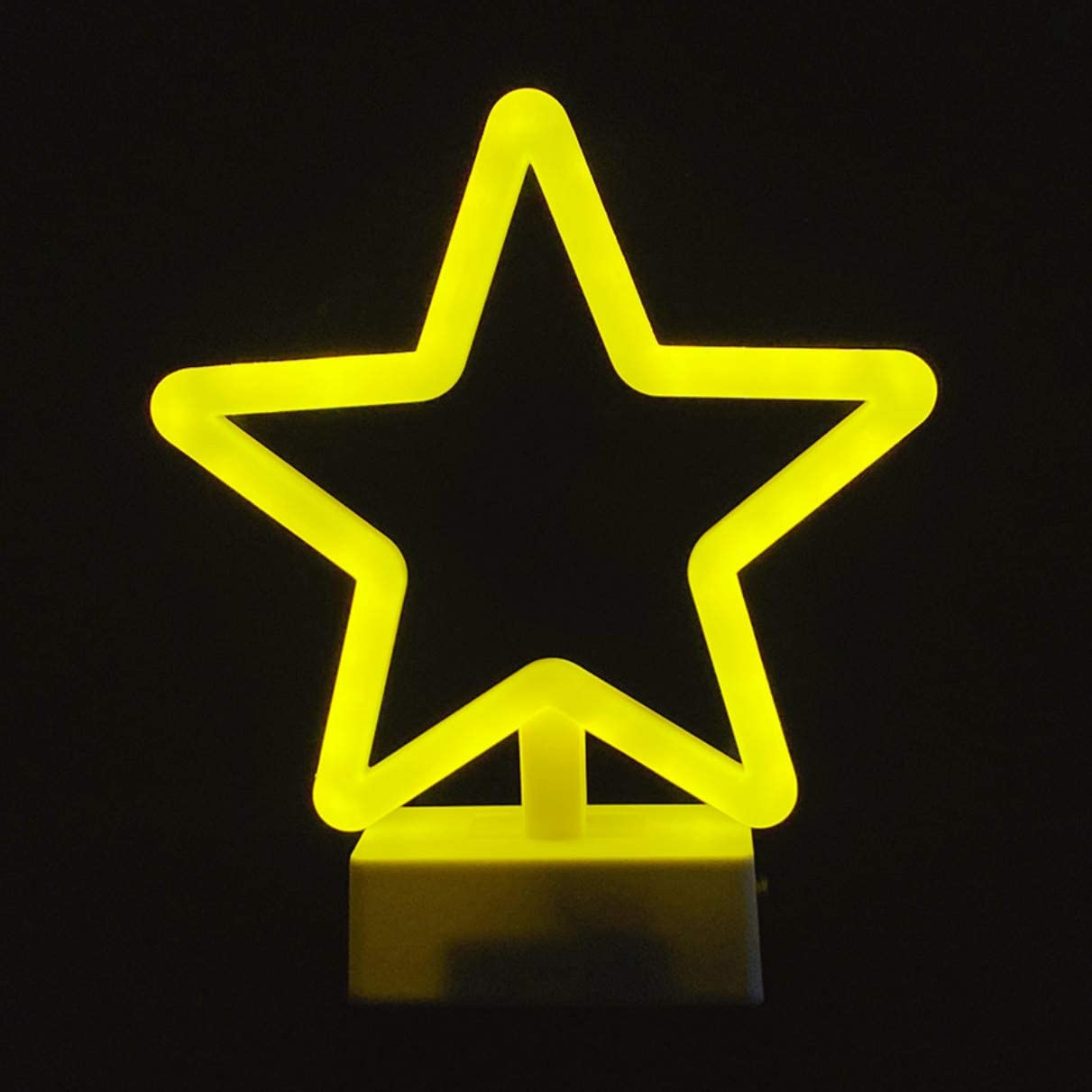 QiaoFei Yellow Star Neon Signs Art Decorative Neon Lights with Hold Base Wall Decor Studio Party Kids Room Living Room Wedding Party Decoration