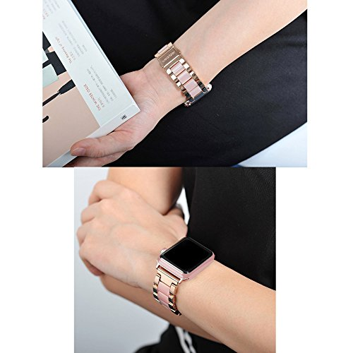 Wearlizer Compatible Apple Watch Band 38mm 40mm Fashion Wristbands Womens iWatch Stainless Steel and Resin Replacement Strap Bracelet Metal Clasp Series 4 3 2 1 Sport Edition-Dark Rose Gold+Pink by Wearlizer (Image #3)