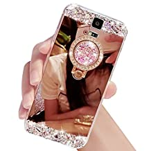 Rose gold Mirror Makeup Case with Bling Circle Finger Ring Stand Holder for Samsung Galaxy S5 I9600,Sunroyal Luxury Crystal Bling Glitter Rhinestone Rhinestone Soft Rubber Bumper Shiny Diamond