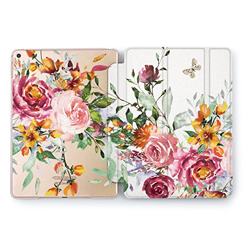 Wonder Wild iPad Case 9.7 inch Watercolor Vintage Rose Gold Abstract Floral Print Mini 1 2 3 4 Air 2 10.5 12.9 2018 2017 Retro Peony Protective Clear Flower Design Auto Wake Sleep Women Girls Cute