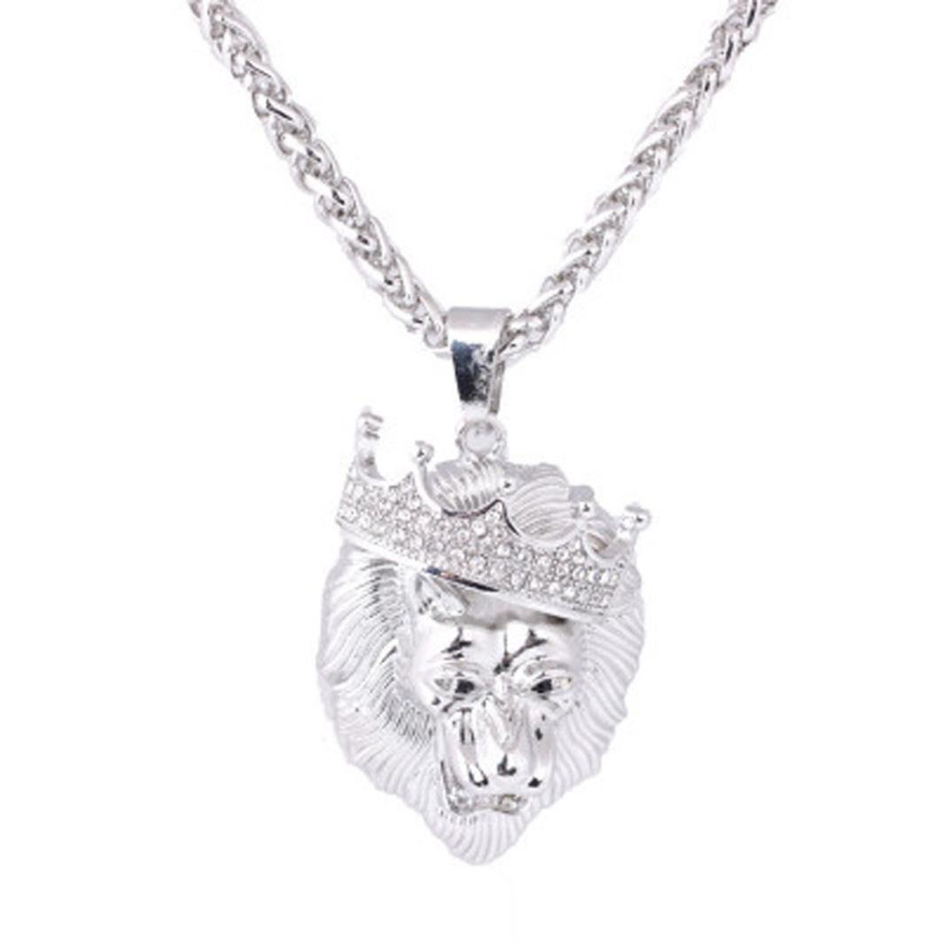 sameno New Mens Full Iced Out Rhinestone Lion Tag Pendant Cuban Chain Hip Hop Necklace (Silver)