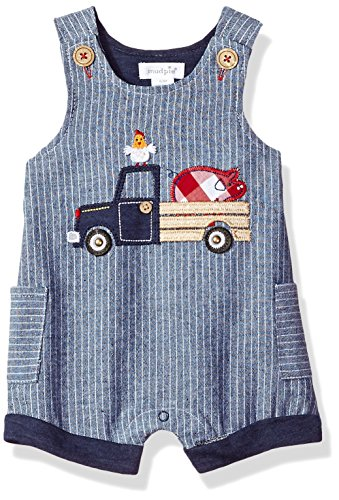 Boys Gingham Shortall (Mud Pie Baby Boys Farmhouse Chambray Sleeveless Shortall One Piece Playwear, Blue, 3-6 Months)
