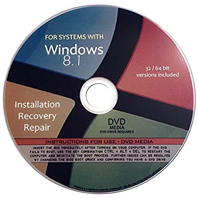 Windows 8.1 Pro Enterprise Standard 32/64-bit Reinstallation Re install Recovery Restore Fix Boot Disk Disc CD - For All Make/Model PCs including HP, Lenovo, Dell, Toshiba, Sony, Asus, Acer