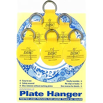 Flatirons Disc Adhesive Plate Hanger Set (6 - 1.25 Inch Hangers)  sc 1 st  Amazon.com & Invisible English Disc Adhesive Medium Plate Hanger Set (4-3 Inch ...