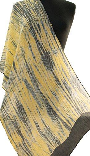 Silvery Grey Yellow Hand-Dyed Shibori Silk Scarf 72