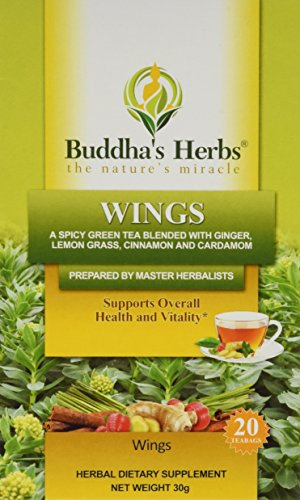 Wings Tea - Green Tea with Ginger, Cinnamon & Cardamom - 2 Pack - 20 Count Bags - Herbal Green Tea - Spicy Green Tea