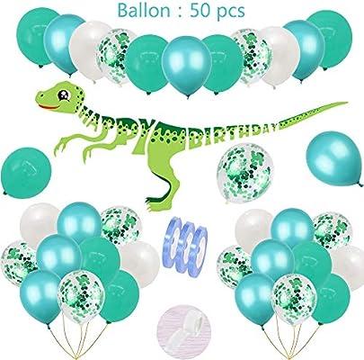 54 piezas de cumpleaños del dinosaurio decoración del ...