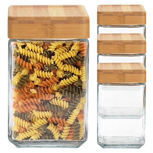Anchor Hocking (4 Pack) 48 Ounce Glass Jars Container Bamboo Lid Airtight Seal Stackable (Bamboo Kitchen)