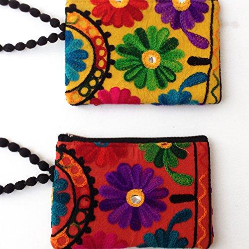 Rajasthan floreale Phulkari ricamato cotone Mobile Borsa (Set di 2)