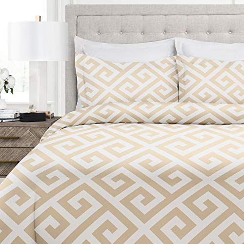 (Italian Luxury Greek Key Pattern Duvet Cover Set - 3-Piece Ultra Soft Double Brushed Microfiber Printed Cover with Shams - King/California King - Cream/White )
