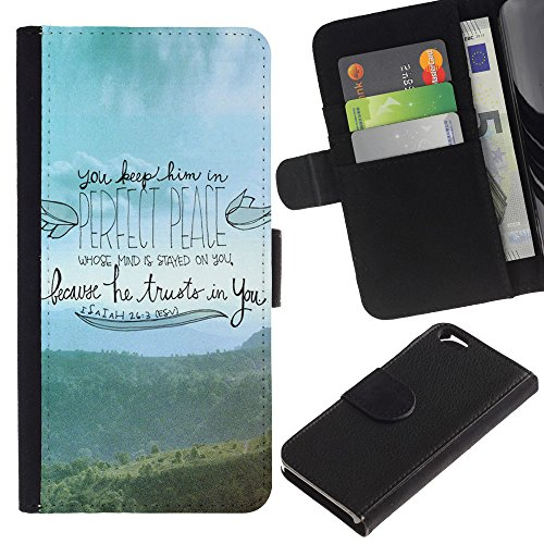 OMEGA Case / Apple Iphone 6 4.7 / GOD IS LOVE HE IS PATIENT HE IS KIND / Cuir PU Portefeuille Coverture Shell Armure Coque Coq Cas Etui Housse Case Cover Wallet Credit Card