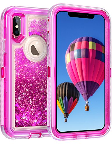 """Coolden 3D Glitter Case iPhone X, Clear Quicksand Liquid Cover Dual Layer Shockproof Bumper Impact Resistant Anti-Drop Shell 5.8"""" Apple iPhone X (Rose)"""
