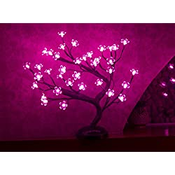 Lightshare 16Inch 36LED Cherry Blossom Bonsai Light, Pink Light, Battery Powered and Plug-in Adapter (included), Built-in timer, Décor for Home/Festival/Party/Christmas/Night Light