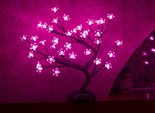 LIGHTSHARE 16Inch 36LED Cherry Blossom Bonsai Light, Pink Light, Battery Powered and Plug-in Adapter (Included), Built-in Timer, Décor for Home,Festival,Party,Christmas,Night ()