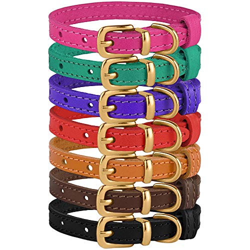"BRONZEDOG Leather Cat Collar with Buckle Adjustable Small Pet Collars for Kitten Black Brown Pink Purple Red Turquoise (Neck Size 9"" - 11"", Black)"