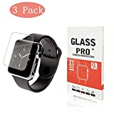 [3 Pack] Apple Watch 38mm Screen Protector - [Only Covers the Flat Area] Anti-Scratch, 9H Hardness, Bubble Free Tempered Glass Screen Protector for Apple Watch 38mm