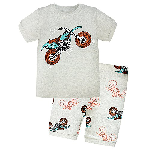 Boys Pajamas 100% Cotton Motorcycle Toddler Kids PJS 2 Piece Children Short Clothes Size 2T-7T(Light Gray 6T) Motorcycle Christmas Lights