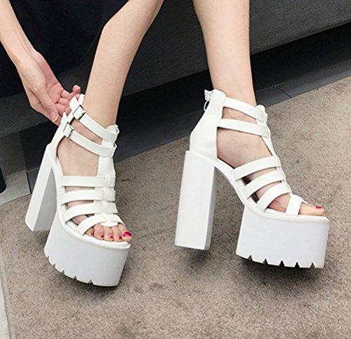 Scène White Poisson Sandales Printemps eight Des Thirty À Avec Chaussures Au Forme Plate La Khskx Bouche 8 Été En Et 5cm q6vxawqE8