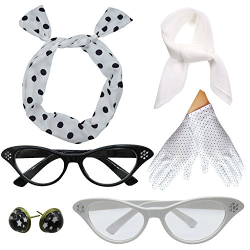 Women 1950s Accessories Set Headband Scarf Glasses Earrings (White)